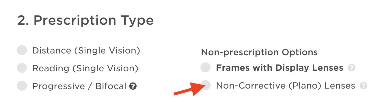 Order plano lenses